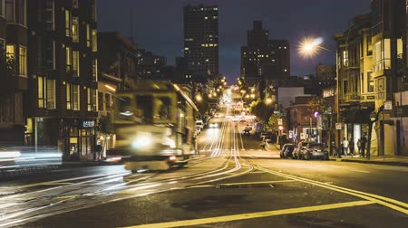 north bay : SAN FRANCISCO, USA - September 2018: 4K Timelapse movie video film of Night Street scene in the downtown of San Francisco, California, USA. San Francisco is one of the top tourist destinations in the world. Stock Footage