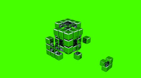 the conception : 3D Cubes - Assembling Parts - Green Background