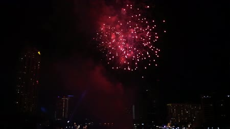 hilton : Fireworks over Chao Phraya River and various luxury hotels and condominiums along the Chao Phraya waterfront at dusk