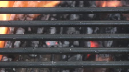 яма : Extreme close up of grill on fire pit.