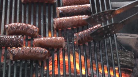 яма : Close up of grilling sausage on the fire pit Стоковые видеозаписи