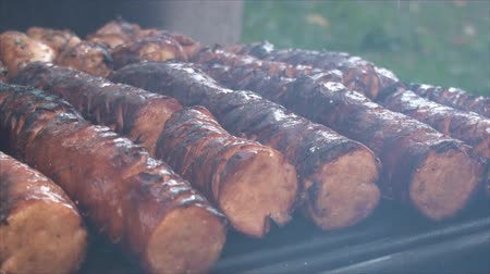 grelha : Close up of cut polish sausages on the fire pits grill 3. Sausages are incised to be better cooked inside and to allow smoke flavor penetrate more easily into the meat.