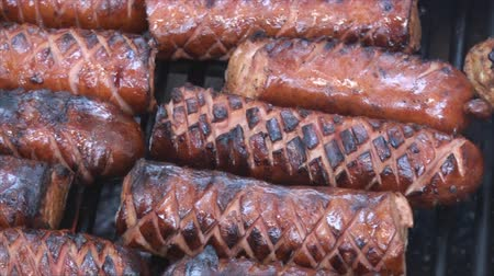 kamp ateşi : Panning left to right of polish sausages scorching on the fire pits grill. Sausages are incised to be better cooked inside and to allow smoke flavor penetrate more easily into the meat.  This is close up footage.