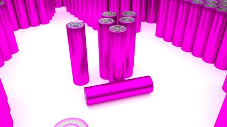 pil : Animated plain, pink or magenta (Stripped from label - from text, logo, brand name and other information) AA batteries on white background. Full 360 Degree rotation (tracking) and loop. Additional batteries in the background and foreground.