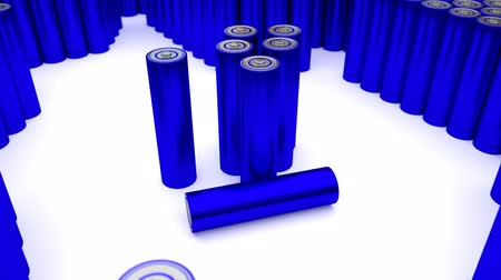 reciclagem : Animated plain, blue (Stripped from label - from text, logo, brand name and other information) AA batteries on white background. Full 360 Degree rotation (tracking) and loop. Additional batteries in the background and foreground. Vídeos