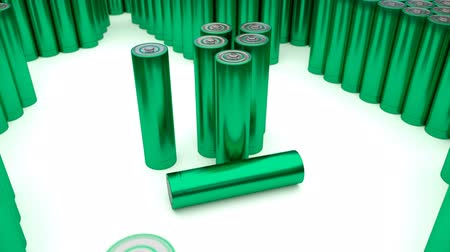 reciclagem : Animated plain, blue-green (Stripped from label - from text, logo, brand name and other information) AA batteries on white background. Full 360 Degree rotation (tracking) and loop. Additional batteries in the background and foreground.