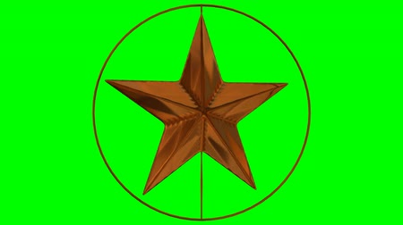 Animates bronze star spinning in bronze ring against green background in 4k.