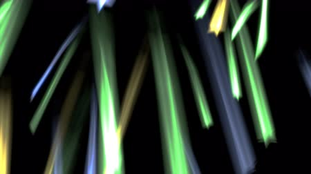 Animated falling cold color stars, strikes with motion blur and in slow motion against black background.