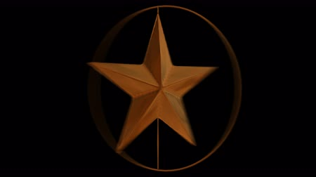 Animates bronze star in bronze ring spinning in opposite direction against black background in 4k. With motion blur. Mask included.