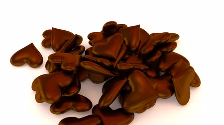 Animated chocolate hearts falling, pouring onto white base, surface.