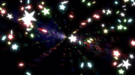 Animated falling and dancing colorful glowing stars against black background.