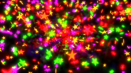 Animated falling and dancing a lot of colorful glowing stars against black background. Dostupné videozáznamy