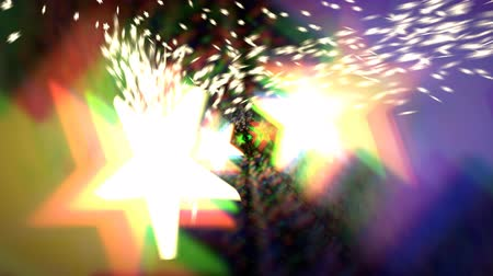 Animated dancing glowing colorful stars with exploding, spreading particles (small stars in the background)