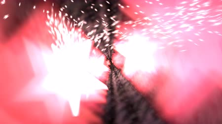 Animated dancing glowing red, pink stars with exploding, spreading particles (small stars in the background.