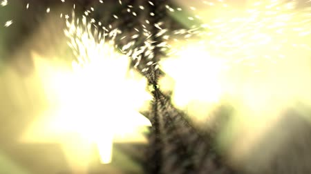 Animated dancing glowing yellow stars with exploding, spreading particles (small stars in the background.