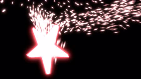 Animated falling, spinning glowing red start with exploding, spreading particles (small stars) against black background.