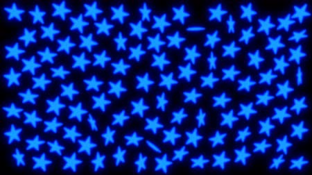 Animated spinning blue glowing stars against black background.
