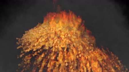 Animated volcano of bursting fire with raging flames. Black background. Mask included.