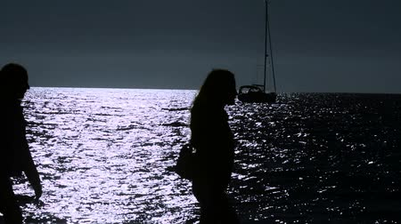 mehtap : People walking on the beach, Sailboat stopped in the night on the moonlight Stok Video