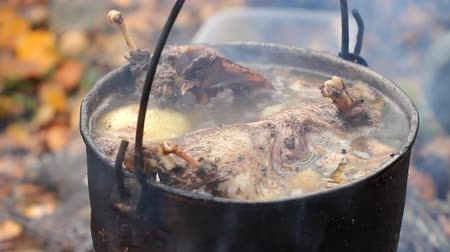 beef soup : Hunting broth Stock Footage