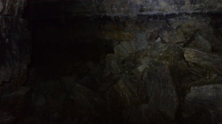 climbed : Old quarry for extraction of limestone. Wiring camera from  bottom up Stock Footage