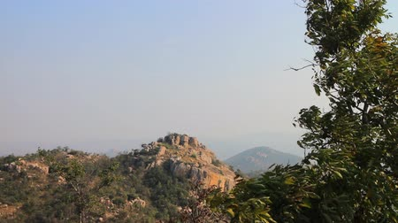subtropics : Dry, hilly Deccan plateau (India). Bush on slopes late winter, table-like top of mountain