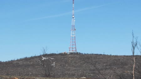 telecoms : Terrible nature.  Area desertified by human activity: forest burned or demolished, plastic pollution, man-made landscape (cell tower) Stock Footage