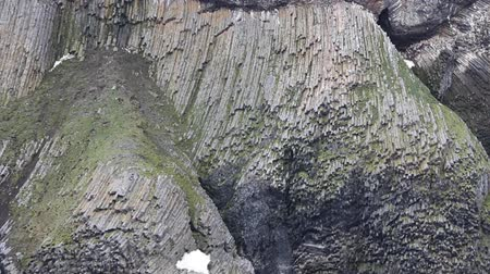 hooker : Textbook of Geology. Unusual type of basaltic parting (basaltic dike, looks like giant organ), bird colony. Franz-Josef Land. Rock Roubini, Island Hooker.