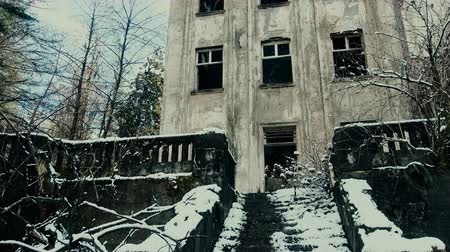 blight : Beautiful video. Ruins of old house with balustrade and first snow, creek flows down stairs. Sense of nostalgia, past life