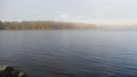 glowing sunlight on water : Huge lake Onega in Western Russia. Forest cape in haze. Timelapse from tourist camp Stock Footage