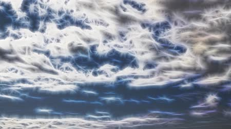 bulutluluk : Fractal heavens, clouds and flying birds - fantastic world, earthly paradise, abstract motion background animated
