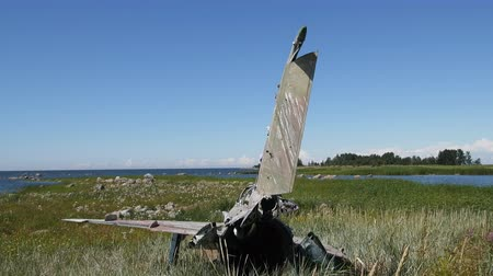 crashed : Unique video. war plane crashed on shore of sea several years ago and lies on grassy dunes Stock Footage