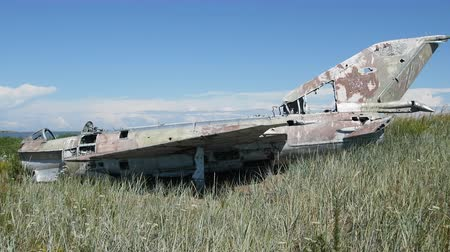 ölümcül : Unique video. war plane crashed on shore of sea several years ago and lies on grassy dunes Stok Video