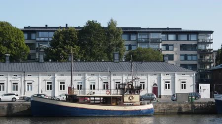 moorage : Turku, Finland - August 25, 2017: Private pleasure boat vintage design moored on embankment