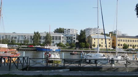 moorage : Turku, Finland - August 25, 2017: Yachts directly on beach promenade