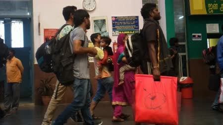 ethnography : India, kanniyakumari - January 16, 2016: Daily life of India 1. Passengers on commuter trains pass through central station (arrival hall)