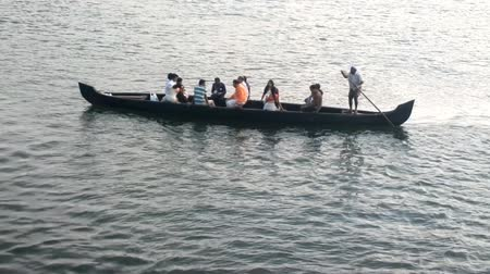 exotikou : India, Kerala - December 28, 2015:  Water transport of India 24. Carrier transported people on boat Dostupné videozáznamy
