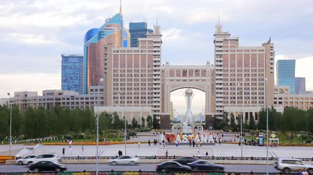 mouro : Astana, Kazakhstan - July 17, 2016: Colorful entry into capital of Kazakhstan - Astana - elements of Soviet decoration style, Stalins empire. post-Soviet architecture Vídeos