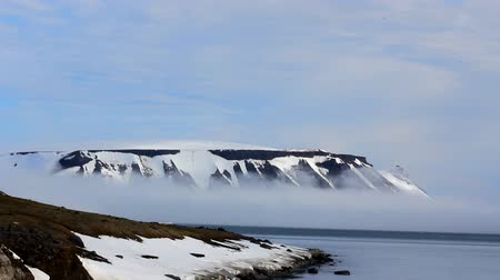champ : Clouds slowly flow down from glaciers through mountain pass. Island Northbrook. Glaciers, icefall, outlet glacier, snowfields, iceberg and rock outcrops Stock Footage