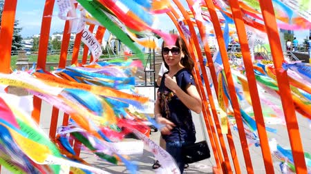 kazahsztán : Astana, Kazakhstan - July 17, 2016: Modernist art,  open-air museum, street art.  Abstract sculpture of wishes written on colored strips (Islamic connotation). In parks and on streets of Astana - new capital of Kazakhstan