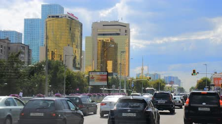 kazahsztán : Astana, Kazakhstan - July 17, 2016: New capital of Kazakhstan city Astana. Modern architecture skyscrapers of concrete, glass and metal. post-Soviet architecture
