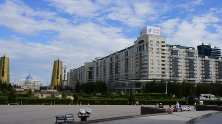 townsman : Astana, Kazakhstan - July 17, 2016: New capital of Kazakhstan city Astana. Modern architecture skyscrapers and element of Stalins empire (eclectic, post-Soviet architecture)