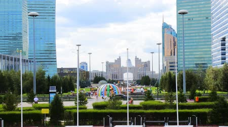 astana : Astana, Kazakhstan - July 17, 2016: New capital of Kazakhstan city Astana. Modern architecture skyscrapers and element of Stalins empire (eclectic, post-Soviet architecture)