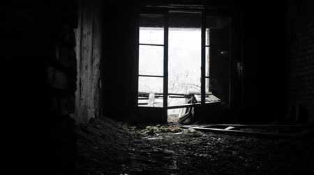 посылка : Neglected, damp, cold forsaken house and thick snow in doorway. Cold winter, snow never ceased falling. Desolation and sadness, shelter of a beggar - abomination of desolation Стоковые видеозаписи