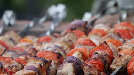 kavurma : Lamb kebabs, rings of tomatoes and pickled onions between slices of meat. Shish kebab roasting on coals. Southern recipe, Caucasian version.