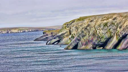another : Strange rocks coastal cliffs on another planet and sea. fantastic Arctic landscape