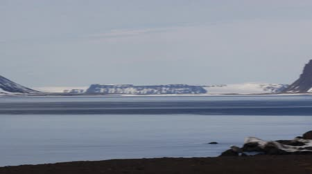 rookery : View of Bell island, archipelago Franz Josef Land. Shooting from island Northbrook (Cape Flora) to the Strait Myers