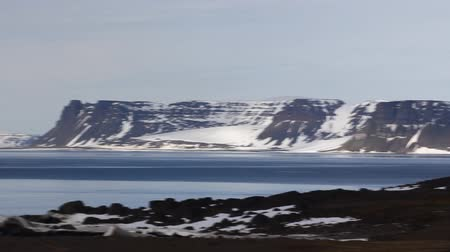 rookery : View of Bell island, archipelago Franz Josef Land. Shooting to island Northbrook (Cape Flora) from Strait Myers
