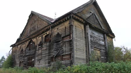 clerical : Abandoned old wooden Russian Orthodox Church. Wooden Church after partial fire Stock Footage