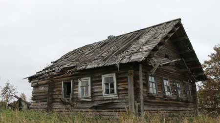 chukchi : Ancient abandoned Northern village, wooden architecture. Old log hut covered with thin planks